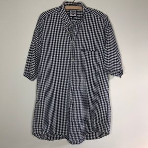 Men's blue gingham short sleeve dress shirt XL